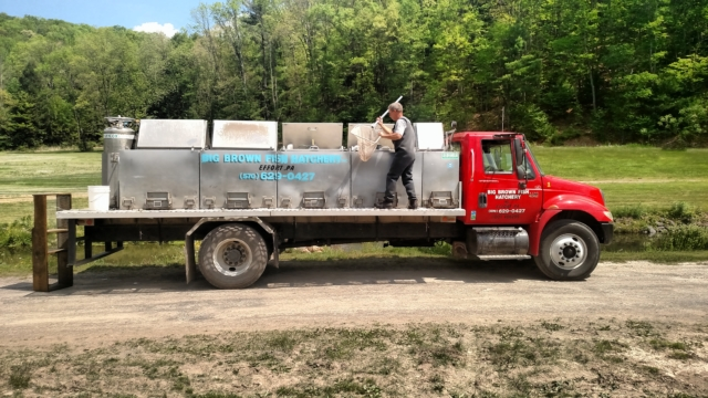 Fish Stocking truck in Pennsylvania. Trout in the Poconos.